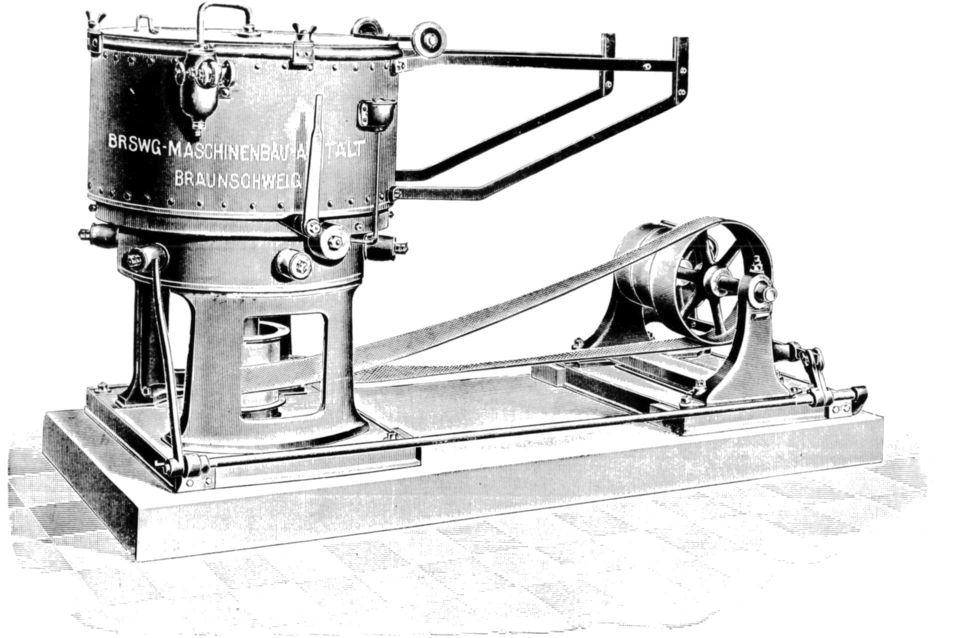 Old black and white picture of a BMA-Centrifugal in 1860
