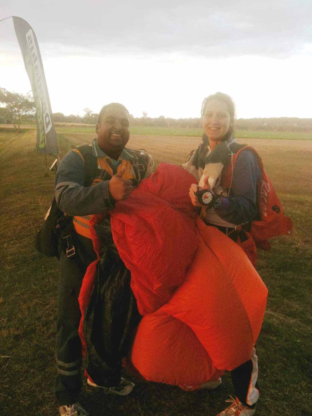 Omkar after sky diving with trainer