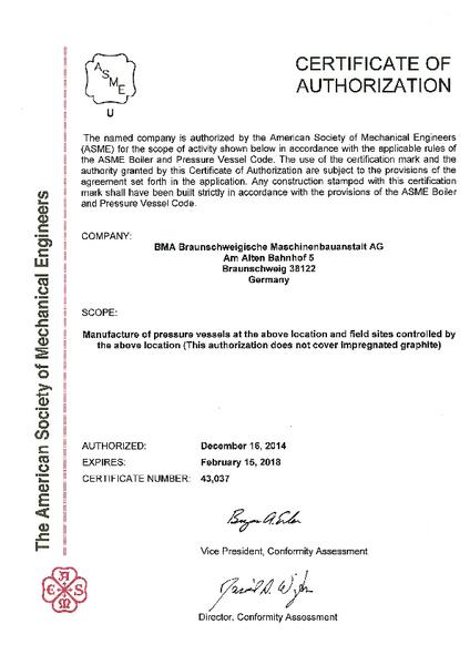 Certificates | BMA - Braunschweigische Maschinenbauanstalt AG